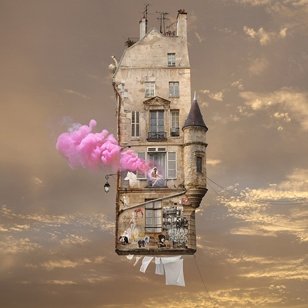 Laurent Chéhère COLLECTOR'S EDITION: Flying Houses Motiv »Pink« (2017)
